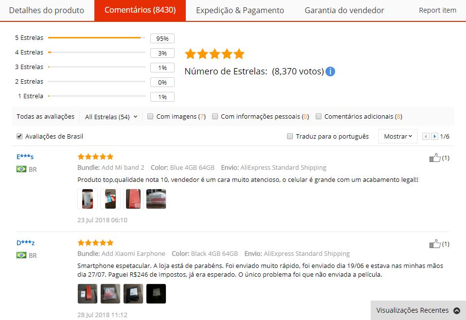 Feedback com imagens do produto do AliExpress