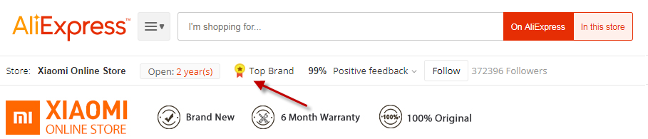 AliExpress store with top brand mark