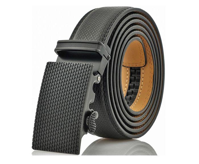 Cinturón de Vestir de Cuero Genuino con Trinquete para Hombres