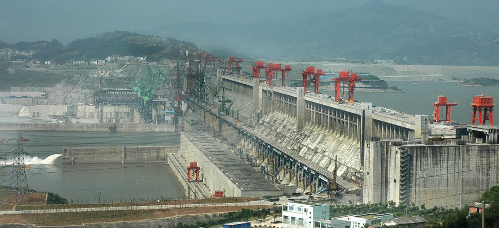 Three Gorges Dam on Yangtze river in Hubei province of China