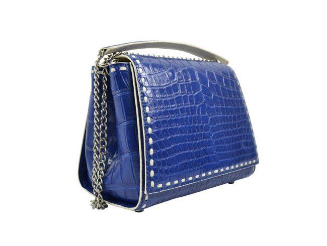 Damenhandtasche aus Siamkrokodilhaut mit blauem Band