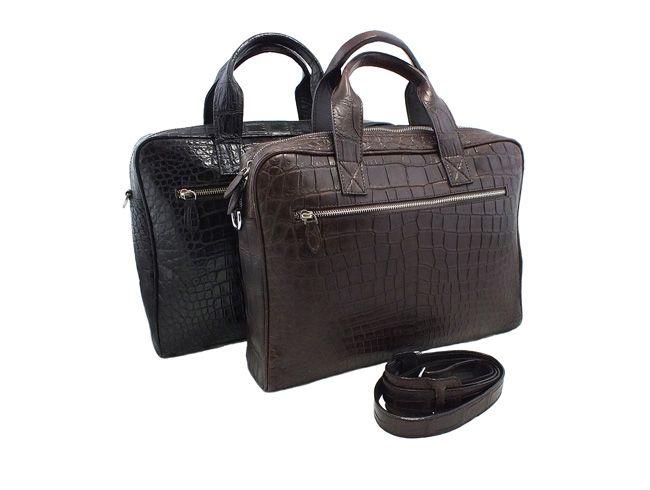 Herren Aktentaschen aus Krokodilleder in schwarz und dunkelbraun