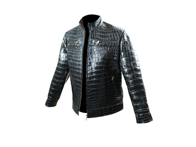 Jaqueta de couro de crocodilo masculina preta