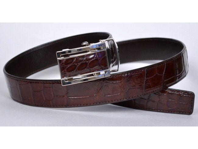Cinturón para hombre de cuero de cocodrilo café oscuro