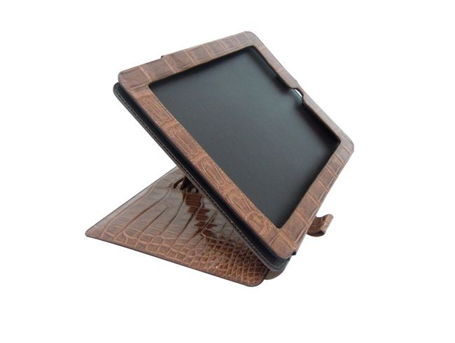 Capa para iPad de couro de crocodilo