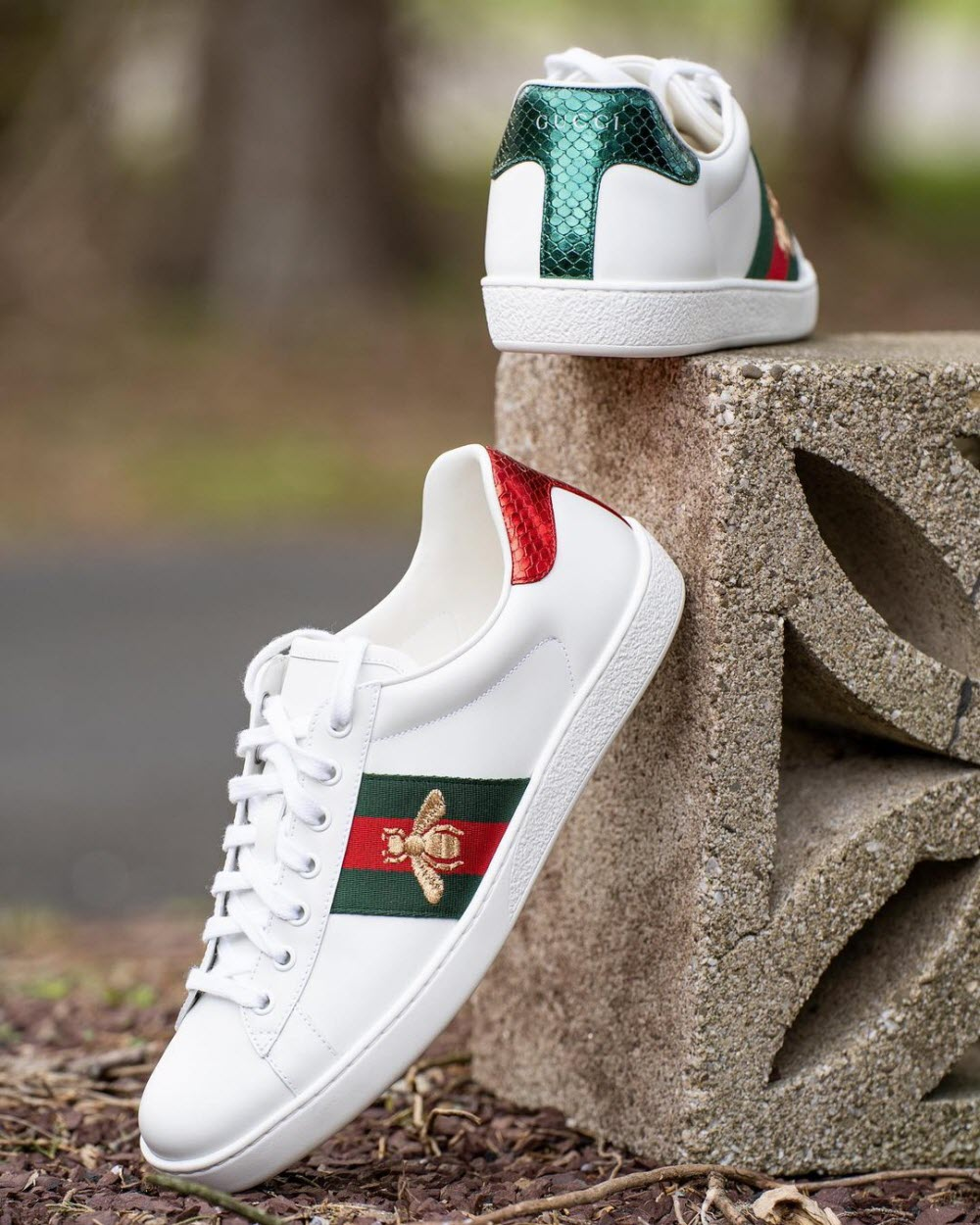 Gucci Ace Women Sneakers in White with Bee Embroidery