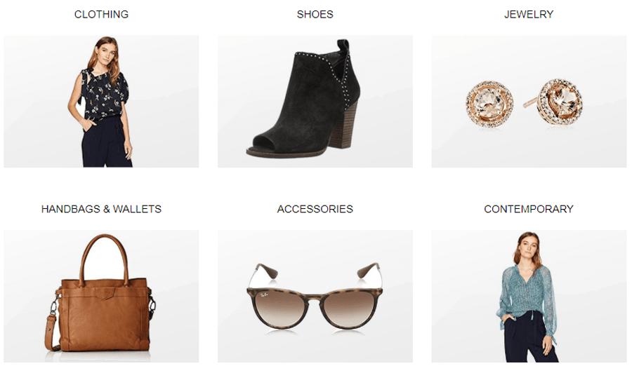 На американском сайте Amazon продается большое количество брендовой женской одежды, сумок, солнечных очков и ювелирных изделий