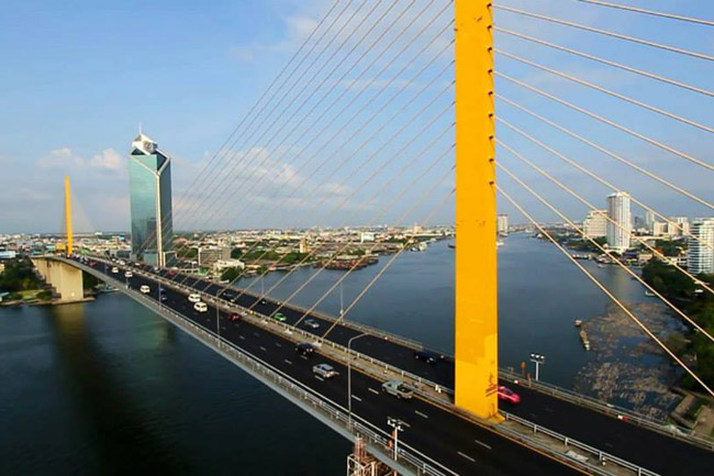 The Bhumibol Bridge, also known as the Industrial Ring Road Bridge